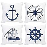 Elloevn - Set di 4 federe per cuscini decorativi in stile nautico, con ancora, nave, navigazione, bussola, 45 x 45 cm, colore: bianco e blu