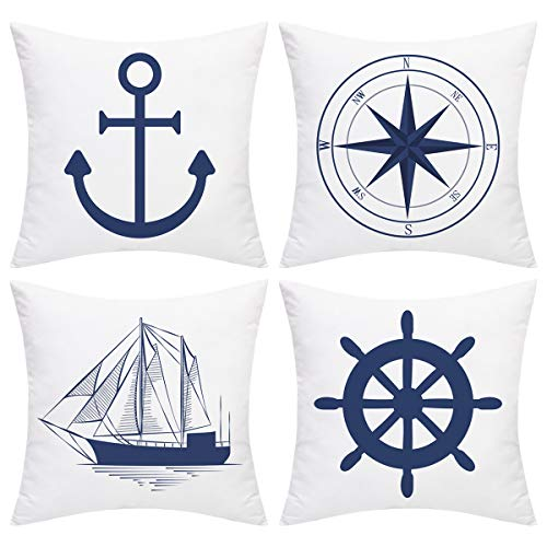 Alishomtll Nautical Sailing Throw Pillow Cover Anchor Navigation Compass Sailboat Pillowcase Set of 4 Decorative Cushion Cover for Home Sofa (Blue White, 18 x 18 Inch)