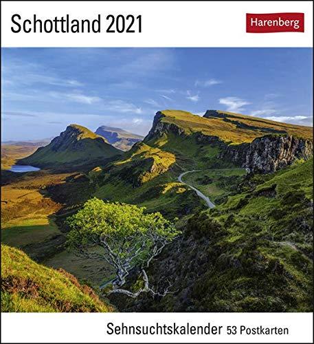 Schottland Sehnsuchtskalender 2021 - Postkartenkalender mit Wochenkalendarium - 53 perforierte Postkarten zum Heraustrennen - zum Aufstellen oder Aufhängen - Format 16 x 17,5 cm
