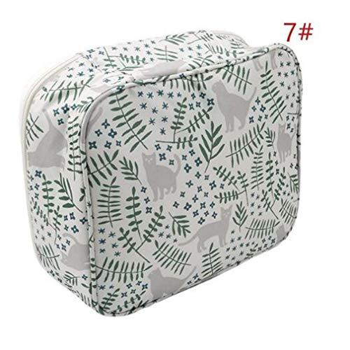 WEIHEEE Sac cosmétique à fleurs carrées avec poignée portable, pochette de maquillage multicolore de grande capacité pour les voyages,Couleur de l'image 5