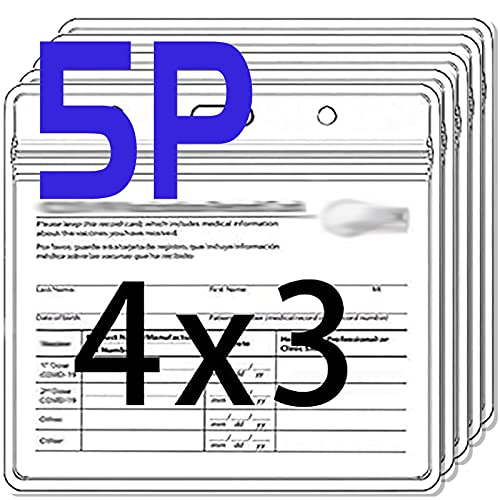 5 Packs Card Protector 4x3 in Record Card Holder 3x4 Horizontal ID Badge Holder,Clear Vinyl Plastic Sleeve Cover Waterproof Resealable Zip for Travel (5P)