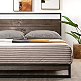 ZINUS Suzanne 37 Inch Metal and Wood Platform Bed Frame / Solid Wood & Steel Construction / No Box Spring Needed / Wood Slat Support / Easy Assembly, Grey Wash, King