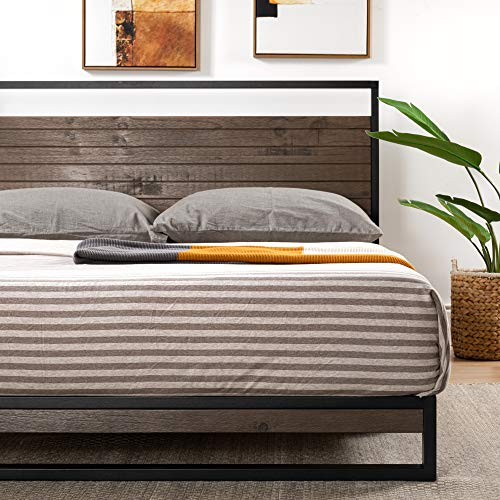 ZINUS Suzanne Metal and Wood Platform Bed Frame / Solid Wood & Steel Construction / No Box Spring Needed / Wood Slat Support / Easy Assembly, Grey Wash, Queen