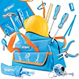 Hi-Spec 18 Piece Kids Tool Kit with Blue Tool Bag, Kids Apron, Pretend Play Hard Hat, Safety Glasses, REAL Small Size Hand Tools, Level, 4oz Hammer for DIY Childrens Construction Education Tool Set