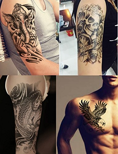 Dalin 4 Sheets Temporary Tattoos, Warrior Elephant, Dead Skull, Koi Fish, Eagle Hawks
