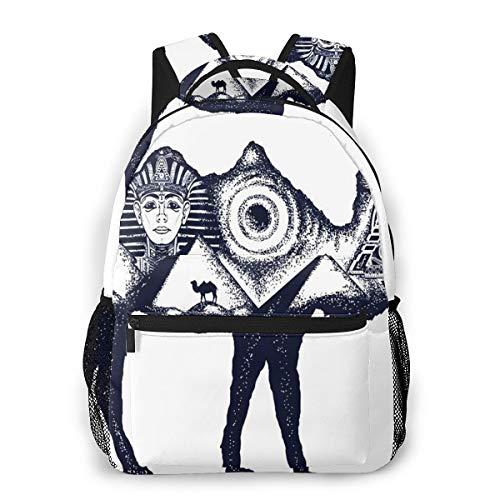 Laptop Rucksack Schulrucksack Lama Ägypten Pharao, 14 Zoll Reise Daypack Wasserdicht für Arbeit Business Schule Männer Frauen
