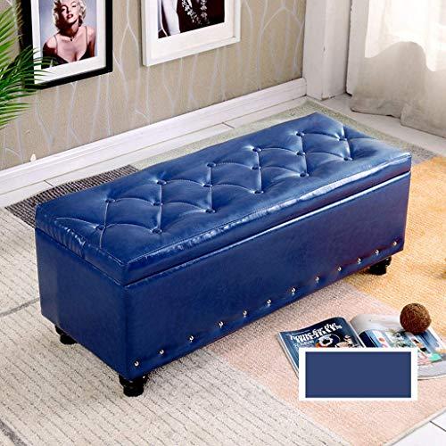 YLCJ Voetbank Mode Ottomaanse poef container ladekast Bench Seat Ruimtebesparend Maximale belasting 300 kg Kruk (kleur: donkerblauw Afmetingen: 80 * 40 * 40 cm)