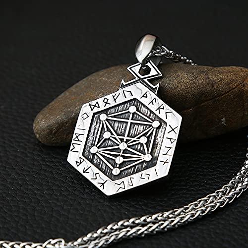 WYPAN Mitología Nórdica Runa Vikinga Aegishjalmur Tattoo Nudo Celta Collar de Amuleto, los Hombres de la Vendimia de Acero Inoxidable Geometría de la Moda Hecha a Mano de Joyería