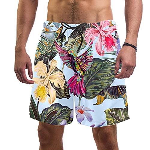 YATELI Pantalones Cortos de Playa Pantalones Cortos para Hombre de Secado rápido,Fondo de patrón Tropical Transparente Floral,Shorts de baño con Forro de Malla