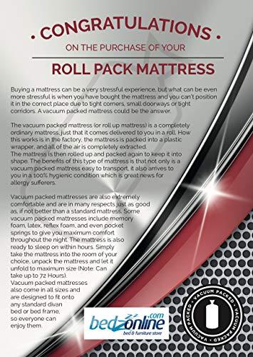 BEDZONLINE Single Mattress Memory Foam Mattress. Sprung Single Mattress With Memory Foam And A Deluxe Knitted Star Micro…