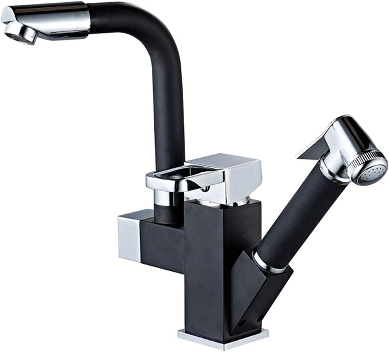 Water Tapfaucet Taps Pull-Type Hot and Cold Water Faucet Kitchen Sink Full Copper Telescopic redatable Laundry Sink Sink Sink Home for Home Kitchen Stainless Steel Single Lever Deck Mounted,Black