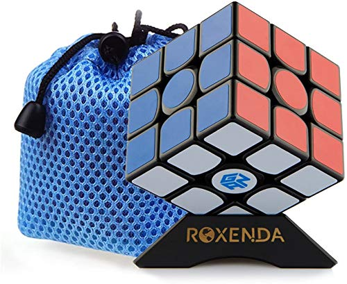 ROXENDA Gan 356 Air Master 3x3 Glatt Magischer Würfel Ganspuzzle Geschwindigkeits Würfel Puzzles Schwarz mit Cube Ständer und Tasche (GAN 356 Air)