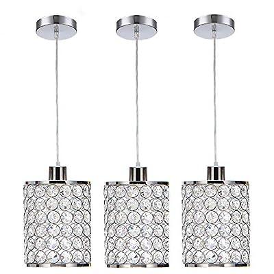 Cuaulans 3 Pack Modern Chrome Crystal Ceiling Pendant Lighting, Adjustable Pendant Light for Kitchen Dinning Room Bedroom