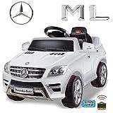 *2x MOTORES* Original Mercedes-Benz ML 350 4MATIC 4x4 License Coche con Motor y Batería de coches para niños (blanco)
