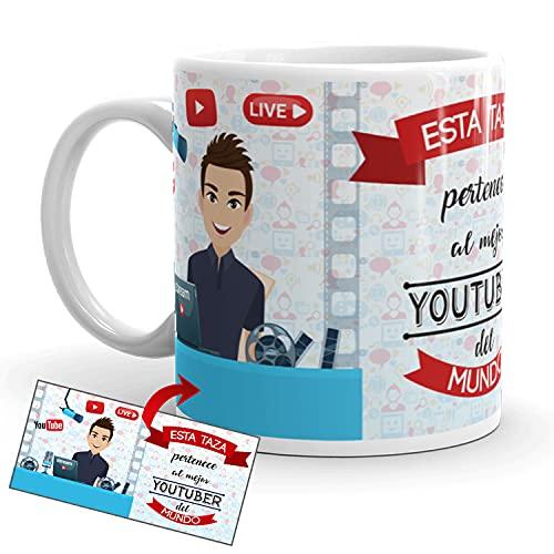Kembilove Taza de Café del Mejor Youtuber del Mundo – Taza de Desayuno para la Oficina – Taza de Café y Té para Profesionales – Tazas de Cerámica de Profesiones – Idea de Regalo Original