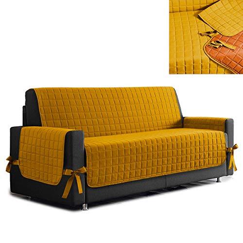 la biancheria di casa Simplicity Copri Salva Divano Bicolore (2 posti, Giallo - Arancio)