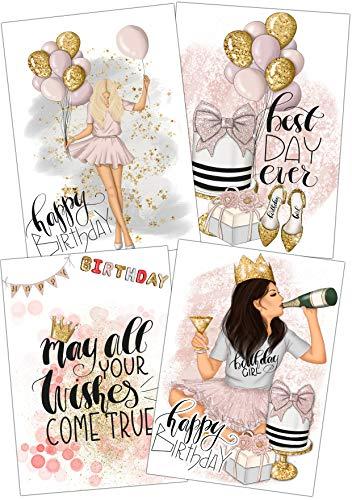 Geburtstagskarte Frau Geburtstag Glückwunschkarte Happy Birthday Girl Gold Premium Grusskarte Geburtstagskind Beste Freundin Bday Party Set 4 mit Umschlag