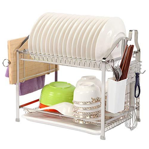 Qiutianchen Edelstahl Geschirrträger Doppelablauf Teller Rack Küchengestell Wand Edelstahl Geschirrträger