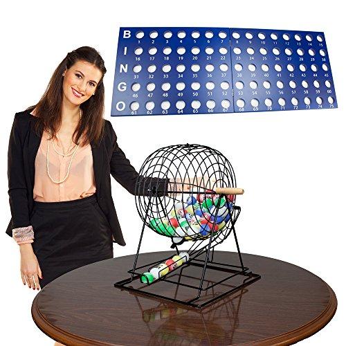 Royal Bingo Supplies Professional Bingo Set with 19' Cage, 1.5' Balls and Heavy Wood Master Board