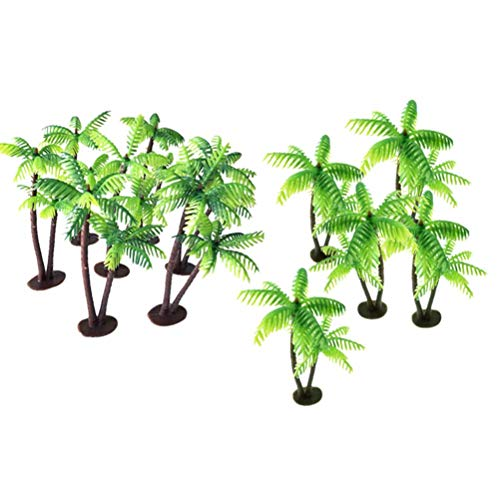 12Pcs Plastic Coconut Palm Tree Miniature Plant Pots Bonsai Craft Micro Landscape DIY Decor