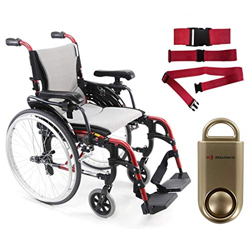 Karman S-Ergo 305 Ultra Lightweight Ergonomic Wheelchair, Quick Release Wheels, 16' Seat Width in Red Frame & Free 130 dB Gold Safety Alarm! + Red Belt!