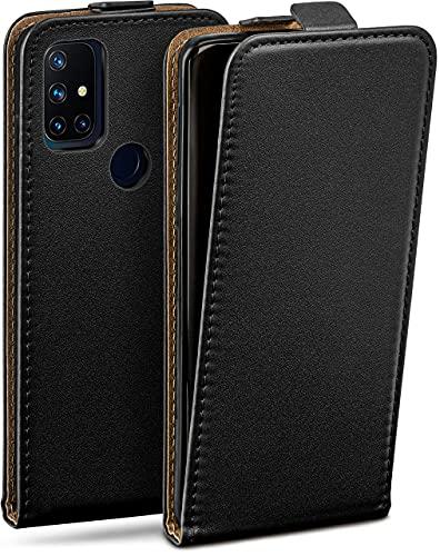 moex Flip Hülle für OnePlus Nord N10 5G Hülle klappbar, 360 Grad R&um Komplett-Schutz, Klapphülle aus Vegan Leder, Handytasche mit vertikaler Klappe, magnetisch - Schwarz