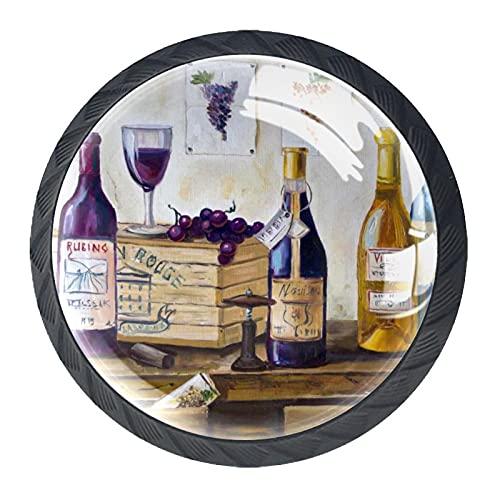HEOH Tirador de cajón Tirador de Cristal Redondo Perillas del gabinete Manija del gabinete de Cocina,Bodegón de Botellas de Vino y Uvas.