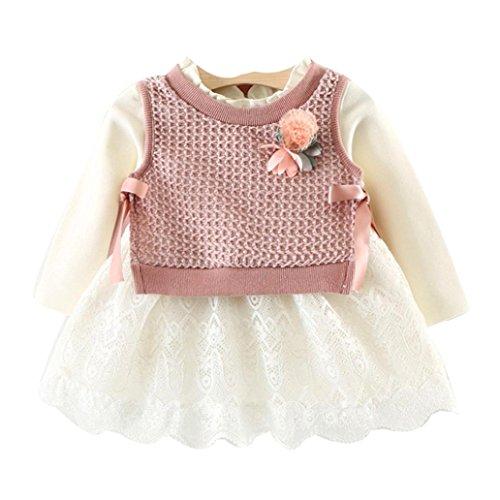 OVERDOSE Kleinkind Baby Kind Mädchen Langarm Gestrickte Bogen Neugeborenen Tutu Prinzessin Kleid 0-24 Monate (6-12 Monate, B-B-Pink)