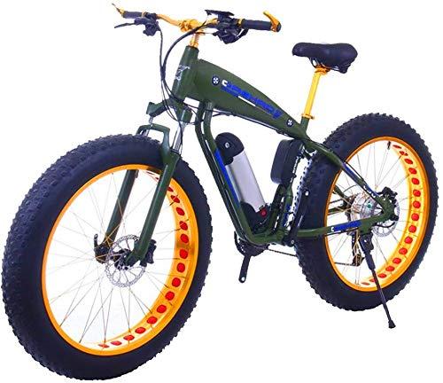 Bicicleta de montaña eléctrica, 26 pulgadas de grasa bicicleta eléctrica 48V 15Ah nieve e-bicicleta 21/24/27/30 Velocidades Playa Cruiser Mens Mountain Mountain Bicicletas eléctricas con freno de disc
