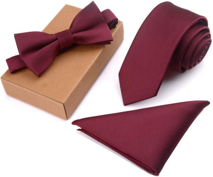 3 Pcs/Set Men Slim Tie Set Bow Tie Pocket Square Cufflinks Handkerchief + Bowtie + Necktie Kit Men's Gifts for Bridegroom Wedding Party Accessories Man Wedding