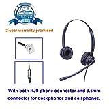 Telefon Headset mit Noise Cancelling Mikrofon für Cisco Telefon Duo Callcenter Headset mit RJ-Anschluss und 3.5mm Klinke für Festnetztelefonen und Handy Smartphone PC Laptops Tablets