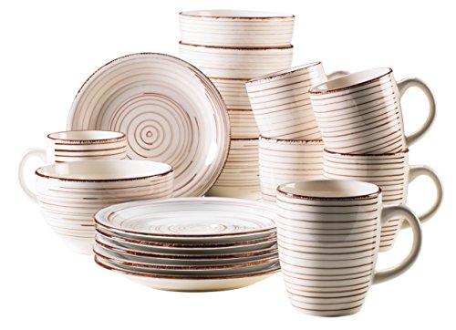 Mäser 929877 Bel Tempo I Frühstück-Service für 6 Personen im Vintage Look, handbemalte Keramik, Geschirr-Set 18 Teile, Steingut, Beige