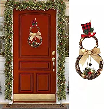 Christmas Snowman Wreath Front Door,Lighted Christmas Wreath Decorations,Grapevine Wreath Garland Wall Hanging Ornament Home