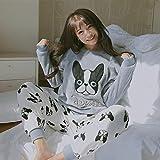 WJFGGXHK Pijama para Mujer,Patrón De Perro Invierno Suave Pjs Ropa De Dormir Tops Pantalones Calientes 2Pcs Trajes Conjuntos De Franela Thicken Casual Loungewear para Adultos Señoras Ropa De Hogar