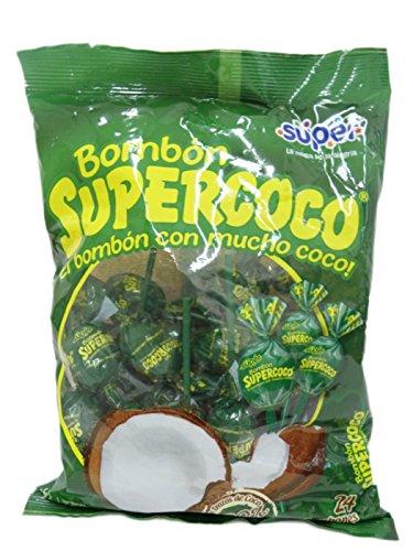 BOMBON SUPERCOCO COCONUT CANDY LLOLYPOPS BAG OF 24 EL BOMBON Con Mucho Sabor