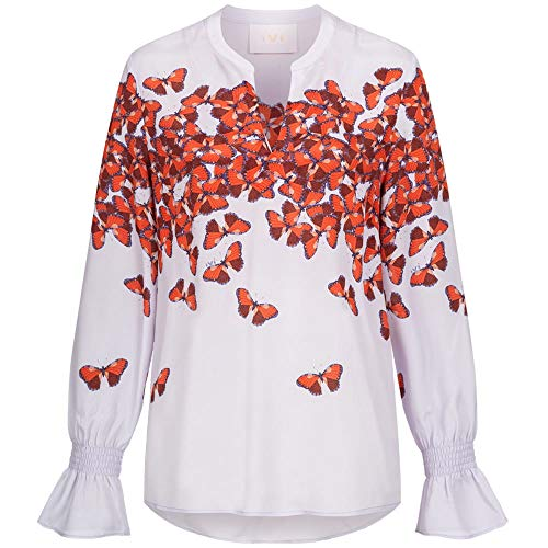 IVI Bluse LEVITA mit Schmetterlingsprint und Seidenanteil 36 Flieder