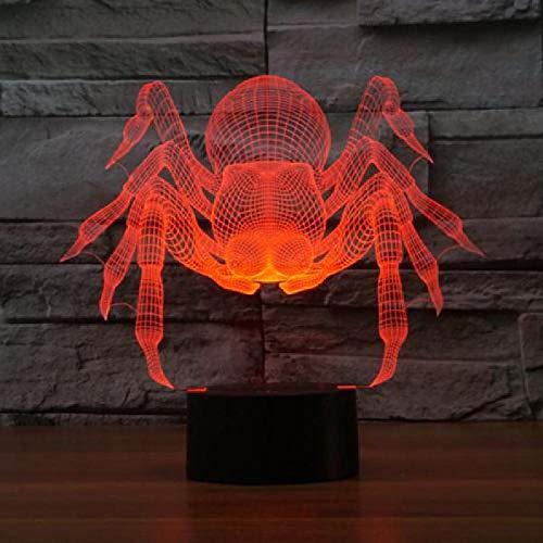 Nuevo párrafo araña 3D luces táctil 7 cambio de color lámpara de escritorio luz visual Halloween araña regalo led noche luz 3D lámpara