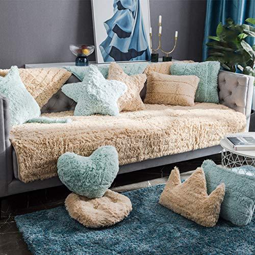QSCV Felpa Funda Sofa Ajustables para 3 Plazas,Grueso Terciopelo Protector De Muebles Salon Fundas para Sofa para Perros Niños Mascotas-Color Caqui 70x90cm(28x25inch) 1pcs