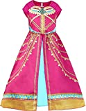LCXYYY Filles Robe Paillettes Classique Princesse Aladdin Jasmine Dress Up Costume Outfit avec Pantalons Perruque Bande De Cheveux Enfants Fête Halloween Carnaval Cosplay Anniversaire Vêtements Set