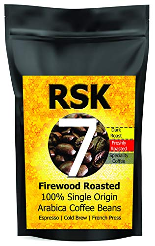 RSK7 Roasters Single Origin Arabica Freshly Roasted Coffee Beans - Firewood Roasted -Dark Roast Strong Flavour - for Coffee Makers, Espresso ,French Press and Cold Brew - 250gms - Gourmet Coffee