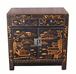 Amazon Vintage gilt square corner black cabinet chinoiserie