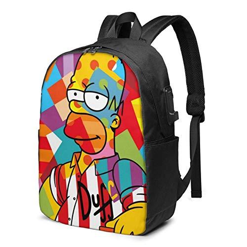 IUBBKI Bolsa para computadora mochila USB Men Women Packable Backpack with USB Charging Port, anti theft heat dissipation SchoolBag, Rucksack Daypack for Outdoor Fishing Work, Homer Cartoon Simp-sons