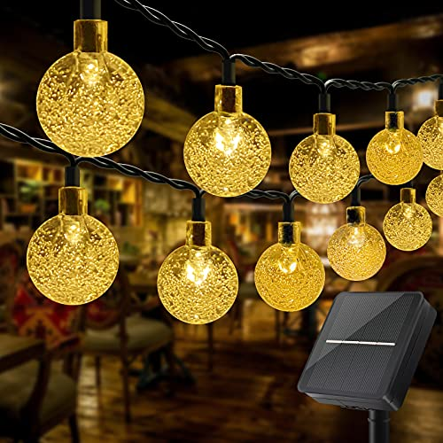 Solar Lichterkette Außen, OBOVO 60 LED Kristallkugel Lichterkette Aussen Solar, Wasserdicht Warmweiß Solarlichterkette mit 8 Modi für Garten, Bäume, Balkon, Party, Terrasse Deko