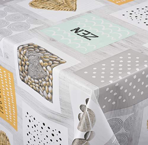 Venilia ZÉNITUDE Nappe Harmony Linge de Table Toile cirée Maintenance réduite hydrophobes, Polyester, PVC, carré, x 140 cm, 55000, 140 x 140 cm