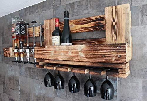 RUSTIKALE WANDBAR mit 4cl DOSIERSPENDER für Cocktails, Longdrinks,Vintage Wandregal Flaschenhalter groß aus Paletten Holz, Geschenk Vatertag Hausbar Landhausstil - 4