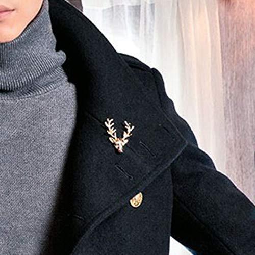 TseenYi Broche en alliage en forme d'animal - Style rétro - Cornes de cerf - Doré - Cadeau idéal pour homme et femme