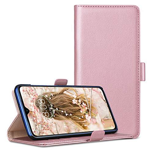 RuiPower para Funda Xiaomi Mi 9 SE Carcasa Libro con Tapa Flip Folio Case de PU Cuero Silicona Soporte Plegable Ranuras Tarjetas y Billetera Magnético Ultra-Delgado Cover - Oro Rosa