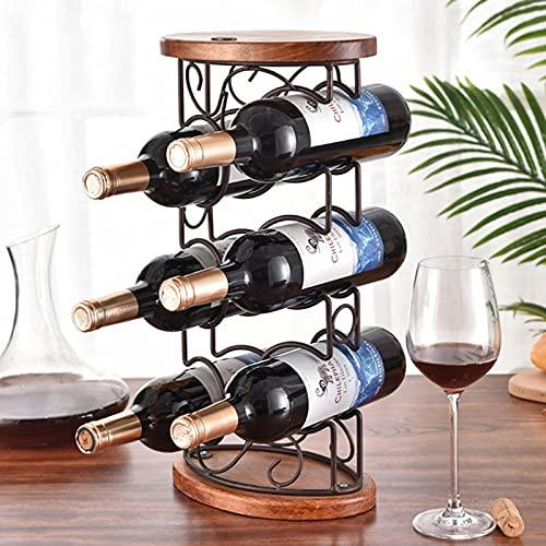 SUHETI Estante de Vino de Metal, Botelleros de Pie, Decoraciones para el Hogar para Gabinetes Encimeras, 6 Botellas
