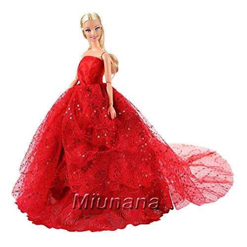 Miunana Hochzeitskleid Langer Spitze Zug Ballkleid Abendkleid Kleidung Kleider Rot für 11,5 Zoll...