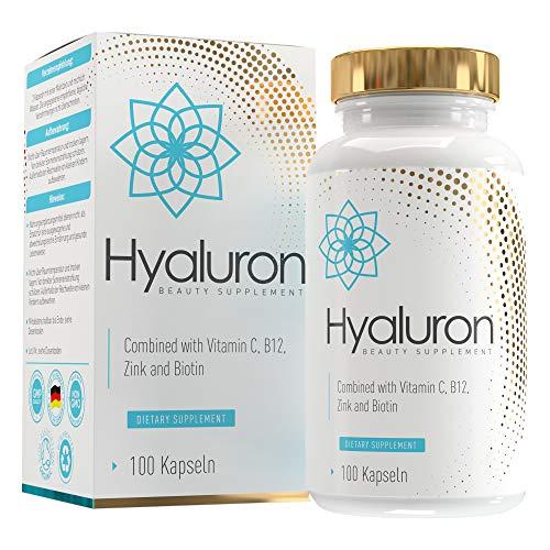 Hyaluronsäure Kapseln 800 mg | 500-700 kDa | Hochdosiert | Vegan | 100 Kapseln | angereichert mit Biotin, Zink, Vitamin C und B12 | MVN®
